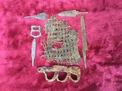 Low Starting Bid! Ancient Viking Excavated Artifacts,cloth,knife&more Must See!!