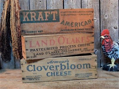 3 Old Vintage Dairy Farm Advertising Cheese Crate Wood Boxes Lot