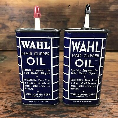 2x VINTAGE WHAL HAIR CLIPPER OIL 3oz OVAL HANDY OILER TIN CAN ADVERTISING SIGN