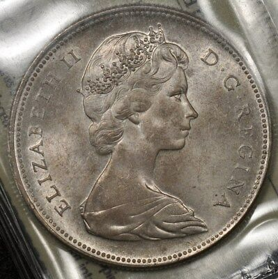 1966 Canada Gem Uncirculated 65 Silver Dollar Large Beads Iccs