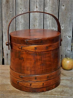 Antique Old New England Wooden Firkin 4 Fingered Pantry Bucket Lidded AAFA