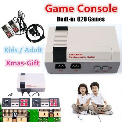 Mini Vintage TV Game Console Classic 600 Built-in Games +2 Controllers For NES H