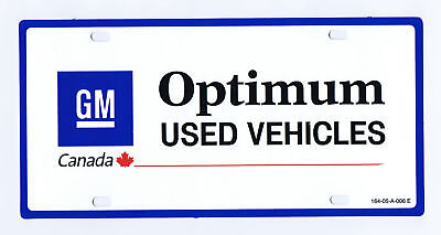 Rare GM GENERAL MOTORS - OPTIMUM USED VEHICLES -NOS Dealership Car License Plate