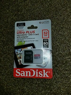 SanDisk Ultra PLUS SDHC UHS-1 Class 10 32GB Memory Card MicroSD Card Brand New