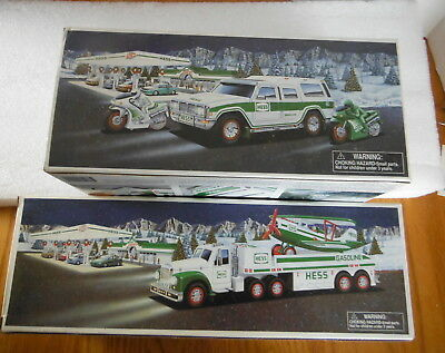 2 HESS TRUCKS New in Box - SUV and Motorcycles - Toy Truck and Airplane 2002/04