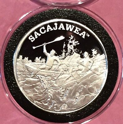 Sacajawea Trail Of Lewis & Clark 1 Troy Oz .999 Fine Silver Round Proof Coin USA