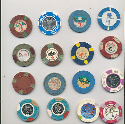 Las Vegas gambling chip token lot 16pc vtg casino