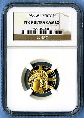 1986 W Statue of Liberty NGC PF69 Ultra Cameo $5 Gold