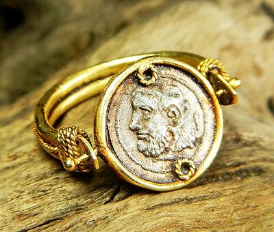 ANCIENT ROMAN SOLID GOLD 24 k  WITH SILVER SWIVEL COIN INTAGLIO ENGAGEMENT RING