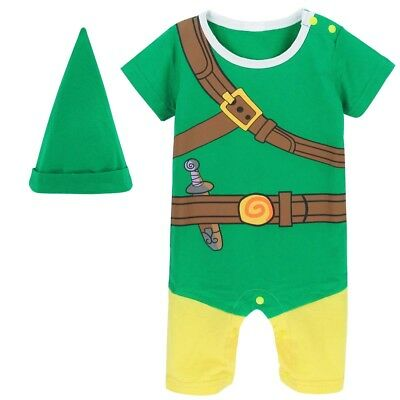 Baby Boy Zelda Costume Romper with Hat Newborn Playsuit  Infant Party Jumpsuit