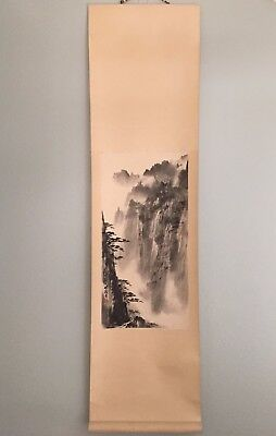 Vintage Chinese Watercolor Painting Scroll of Cloudy Mountain and Pine Trees