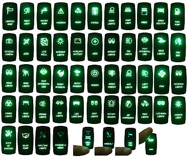 12V~24V ARB Carling Nava 4X4 Boat Car Rv Rocker Push Switch Waterproof Green LED