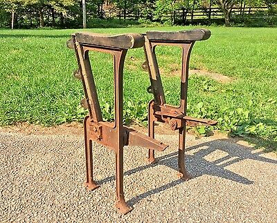 2 Vintage Industrial Cast Iron Metal Theater Chair Legs Coffee Table Base Stand