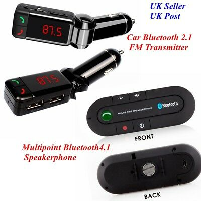 Bluetooth 4.1 Handsfree Car Kit FM Transmitter MP3 Player & USB Charger Magnetic