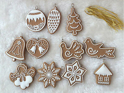 Set of 11 Gingerbread Cookie Christmas Tree Decorations Soft Ceramics Snowflake