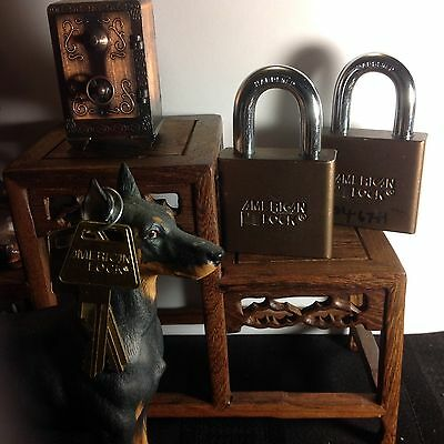 """2  American Series 1300 2"""" Padlock serviced re-keyable A-1Condition Duranodic"""
