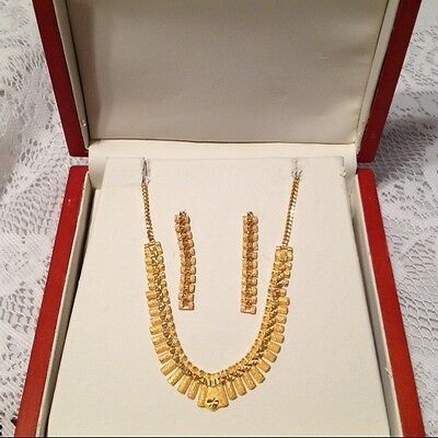 NEW 22 KT Yellow Gold Necklace and Earrings Set Wedding?  20 Grams!!! Unique.