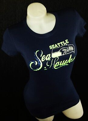 Seattle Seahawks Glitter Football Navy Fitted Tee. Go Russell Wilson!!!