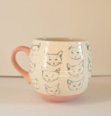 Cat Study Mug By Leah Reena Goren Sketches on Speckled Cup with Pink Handle