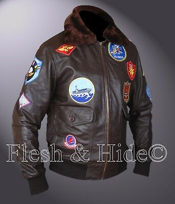 Tom Cruise Pete Maverick Top Gun Flight Bomber Jacket w Real Fur Trimmed Collar