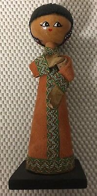 """Vintage Antique Rare Japanese Hand Carved Wooden Kokeshi Female Doll 7"""" Tall"""