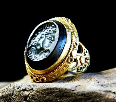 Stunning Ancient Roman Solid Gold Ring Stone Emperor Intaglio  Engagement Ring