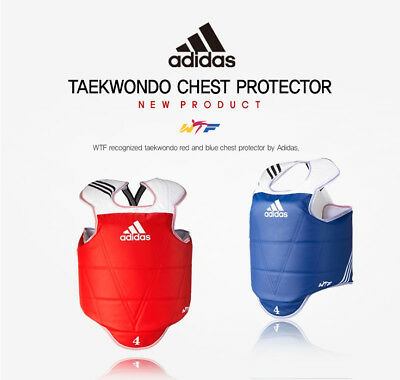 NEW Adidas Reversible Chest Protector WTF Approved Taekwondo Chestguard Red/Blue