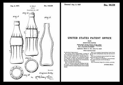 1937 Coca Cola Coke Bottle PATENT Art Print,Design Drawing Document HOBBLE SKIRT