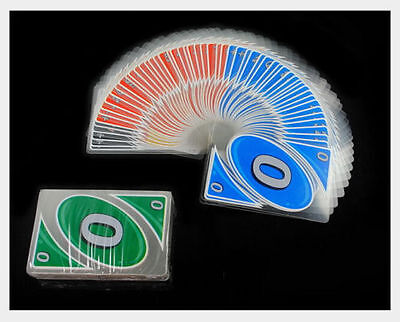 UNO 108 PCS Waterproof PVC Transparent Cystal Clear Fun Family Playing Card Game