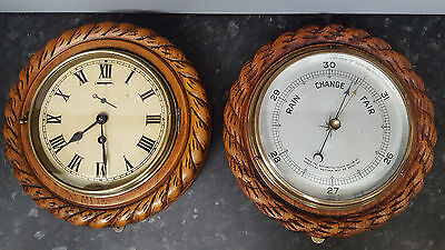 Vintage Wood Rope Pattern Ship's Clock with 8 Day Movement & Matching Barometer