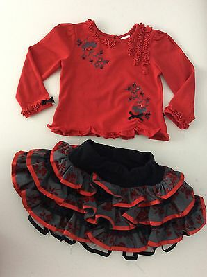 SARAH LOUISE 2 Piece Outfit Set Skirt Top Red Black Grey Vgc Age 2 Years