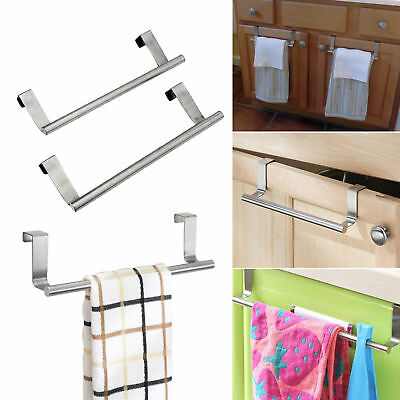Over Door Tea Towel Holder Rack Bathroom Rail Cupboard Hanger Kitchen Bar Hook