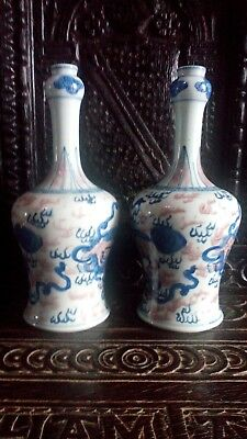 19th cent pair of chinese malet shaped vases