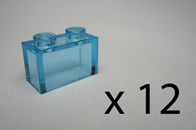 A9626. 12, Lego 1 x 2 Bricks - Clear Light Blue