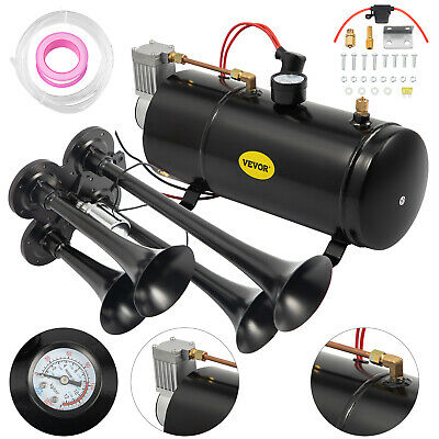 New Quad 4 Train Air Horn Kit Semi Truck Boat w/ 150 PSI Compressor 12V 3 Liters
