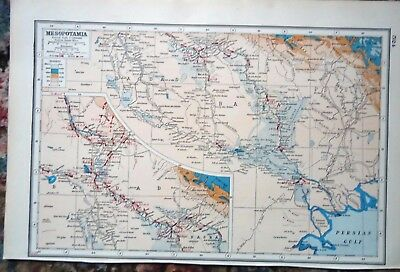 Antique Map ~ MESOPOTAMIA MIDDLE EAST ~ Harmsworth 1920 Almost 100 Years Old