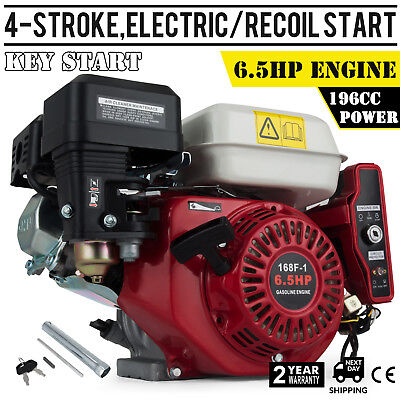 6.5HP Petrol Engine Motor Horizontal Shaft Electric Start Recoil 196CC 4-Stroke