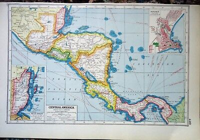 Antique Map ~CENTRAL AMERICA & WEST INDIES~ Harmsworth 1920 Almost 100 Years Old