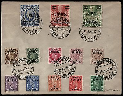 1949 Eritrea cover with 13 stamps and Asmara Eritrea handstamp. E1881