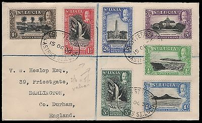 St. Lucia to England. 7 values to 5/-. Registered cover to England. E1867