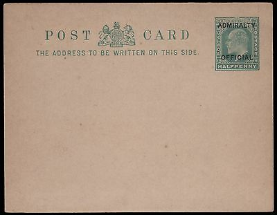 1902 EDVII Admiralty Official Postcard. Mint, type I. E1889