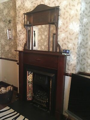 Victorian / Edwardian wooden fireplace surround with mirrors
