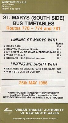 Sydney 1986 Oxley Park - Clair Bus R773 Timetable $10