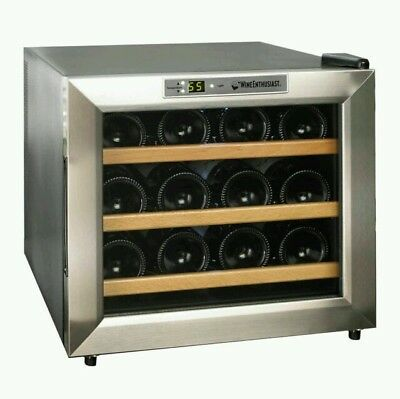 The Wine Enthusiast 2720213W Silent 12 Bottle Wine Cooler Appl Thermoelectric