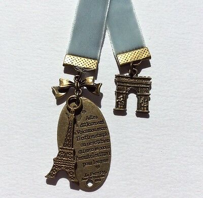Beautiful Grey Blue Velvet Ribbon Bookmark with Eiffel Tower & Arc de Triumph