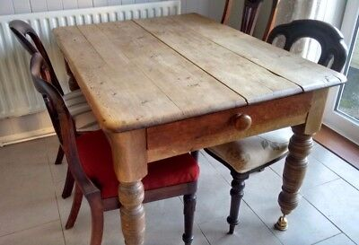 Antique Victorian Scrub Top Pine Kitchen Table Original 4 Feet x 3 Feet