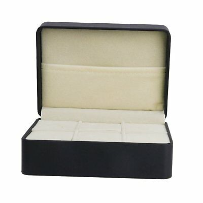 SS 1 pcs Jewelry Box Tie-Down Black Cufflinks Memory Box Case with 6 Slots