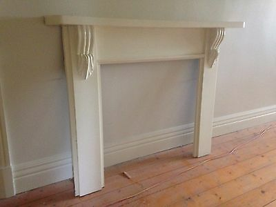 FIREPLACE MANTEL - TIMBER , PAINTED WHITE , CARVED SUPPORTS, REMOVED    ,3s