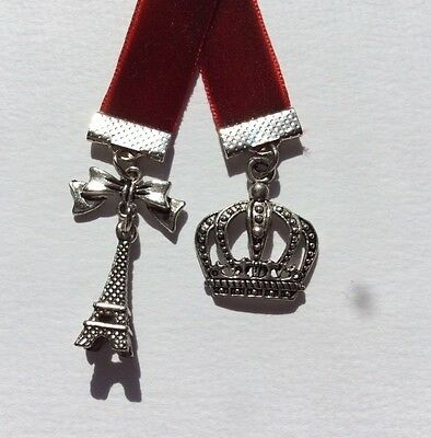 Beautiful Dark Red Velvet Ribbon Bookmark with Eiffel Tower & Crown,Made in Aust