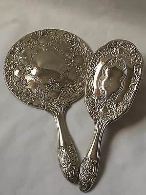 Vintage Silver Plated Dressing Table Set 2 Pieces